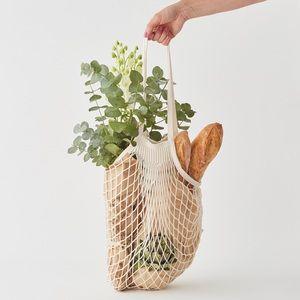 Handbags - Parisienne Cotton Market Open Net Tote Bag Natural